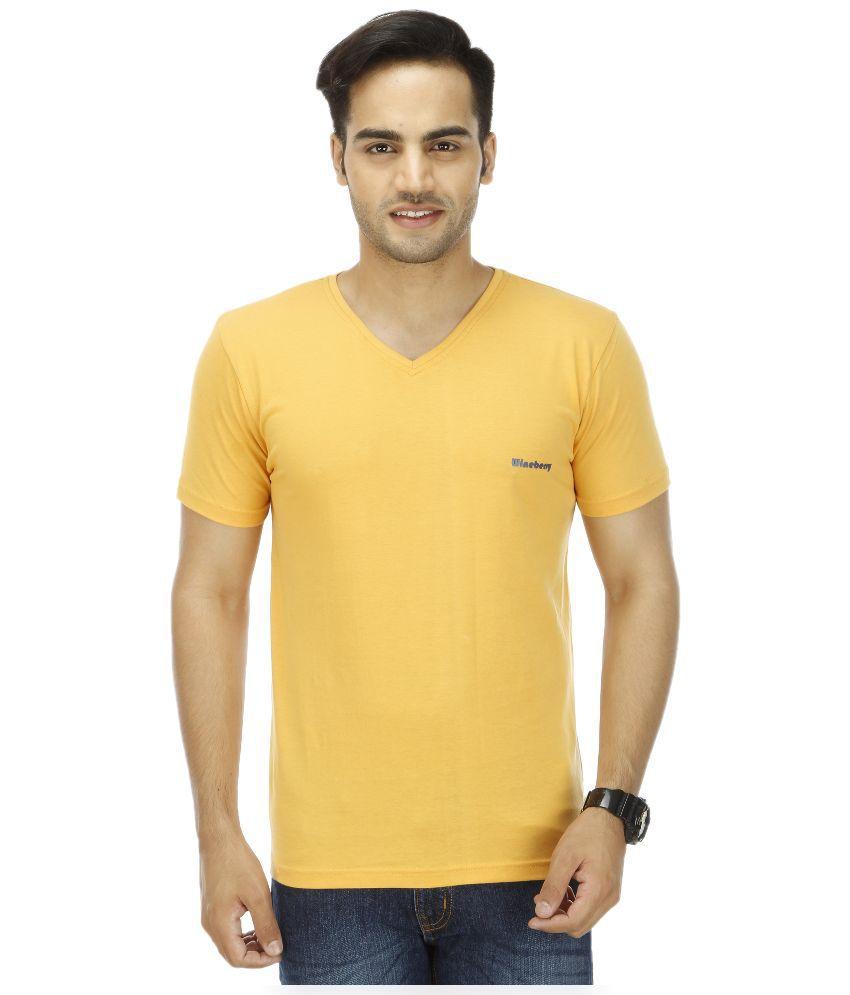 Wineberry Yellow V-Neck T Shirt