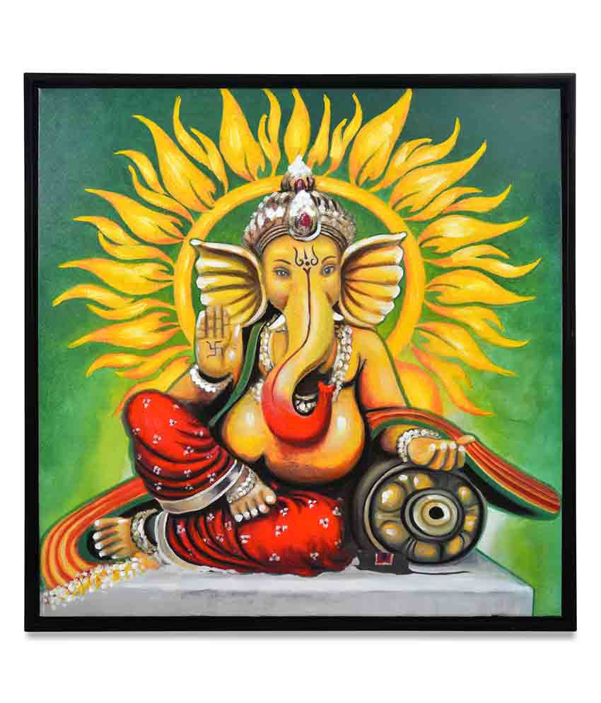 @home by Nilkamal Ganpati Virajman Religious Painting with Wooden Frame