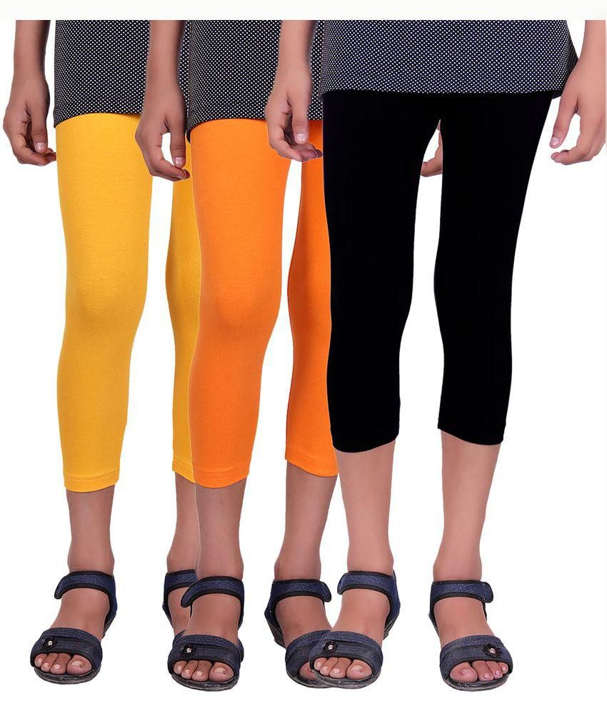 Alisha Multicolour Cotton Lycra Capri For Kids - Pack of 3