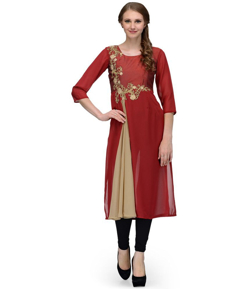 Just Wow Red Georgette Straight Kurti