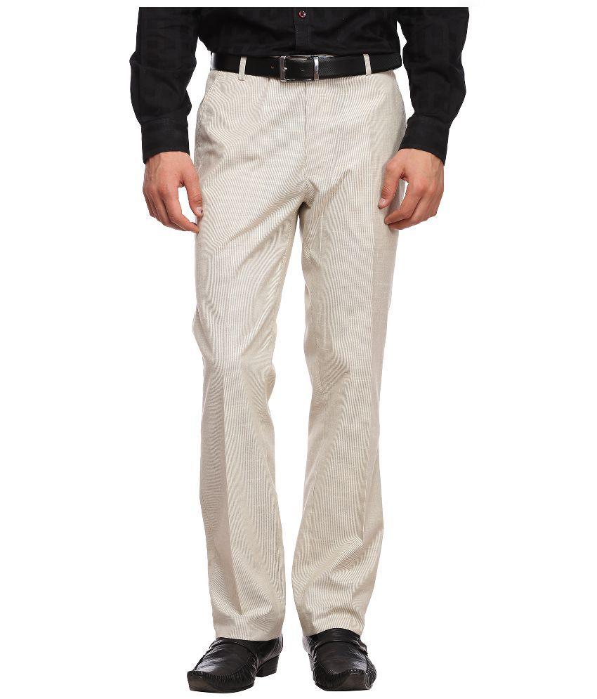 Luxurazi Beige Slim Fit Flat Trousers