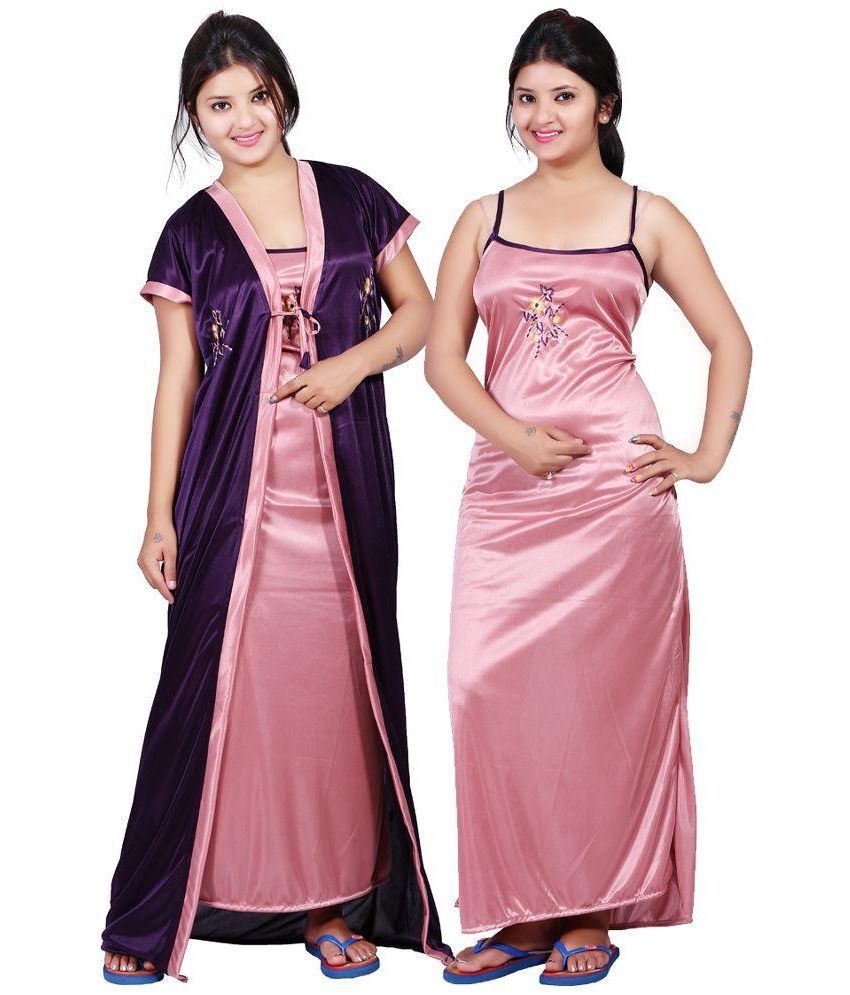 a59f0a7d4f Buy Mahaarani Purple Satin Nighty & Night Gowns Online at Best Prices in  India - Snapdeal