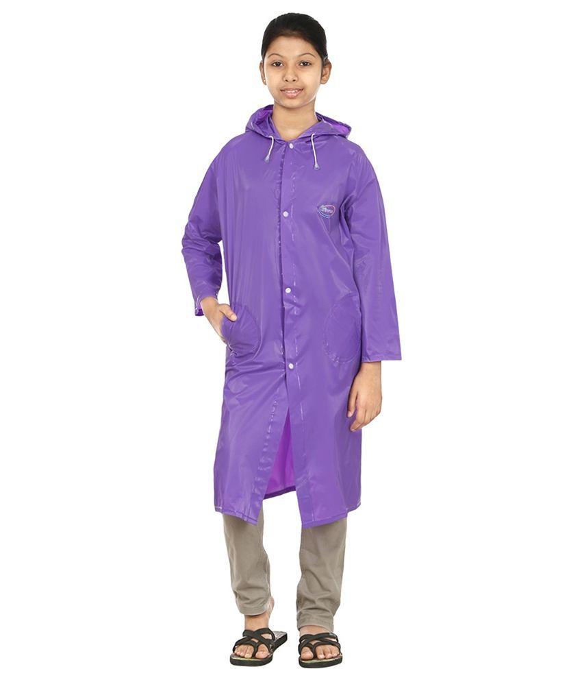 Rainfun Purple Polyester Long Raincoat for Girls