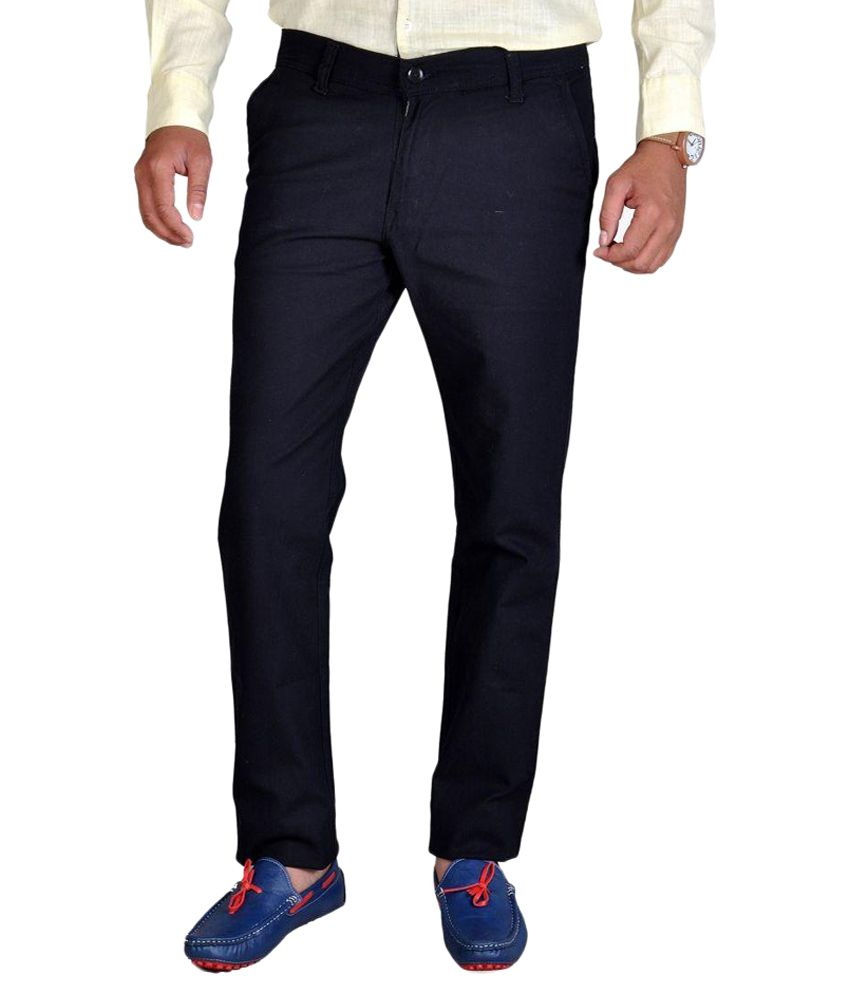 Rich Perk Black Slim Fit Flat Trousers