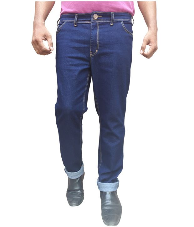 White Pelican Raw Blue Stretchable Plus Size Regular Fit Jeans For Men