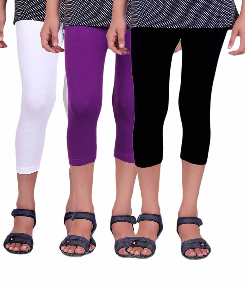 Alisha Multicolour Cotton Capris for Girls - Pack of 3