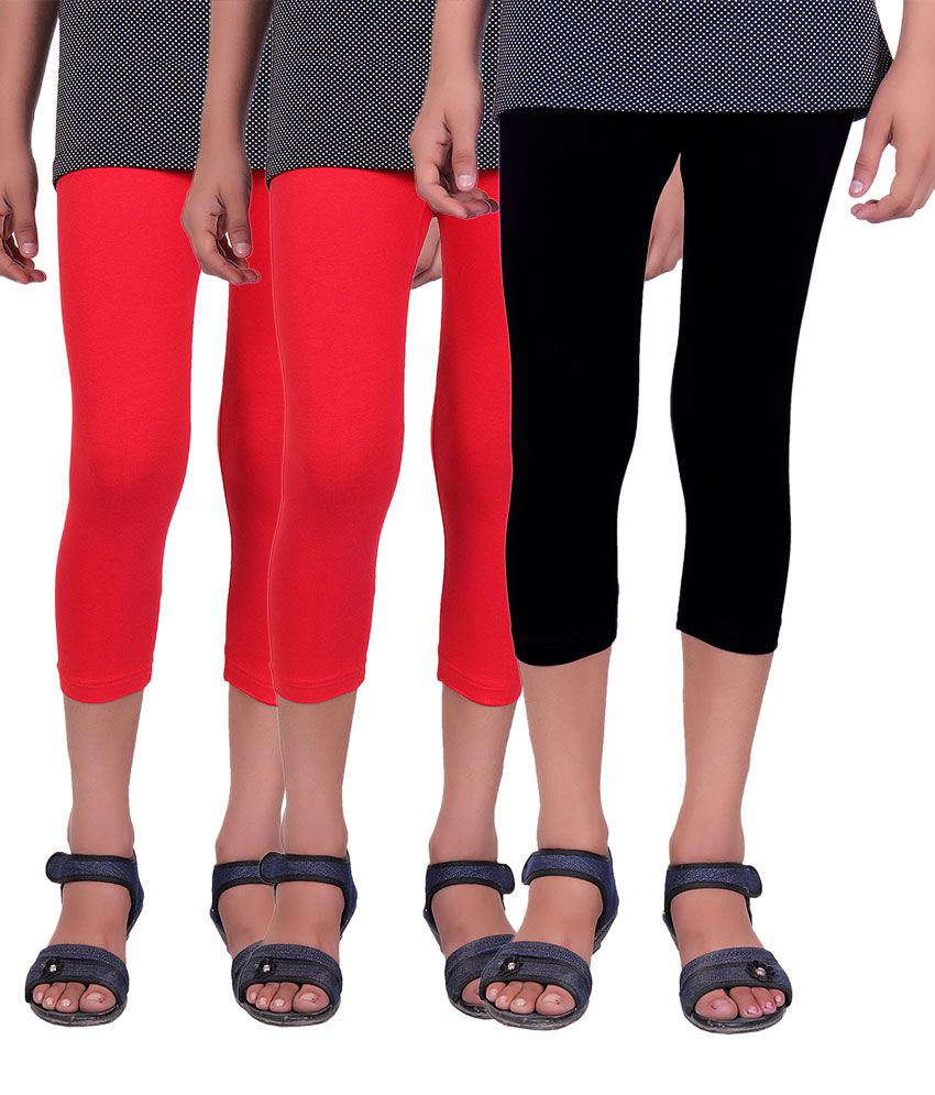 Alisha Red and Black Cotton Capris - Pack of 3