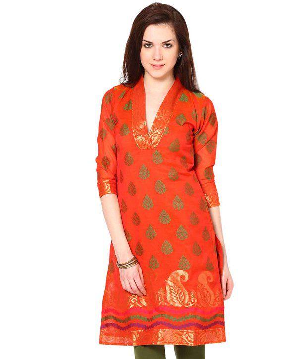 ABHISHTI Orange Printed Chanderi Full Long  Kurti