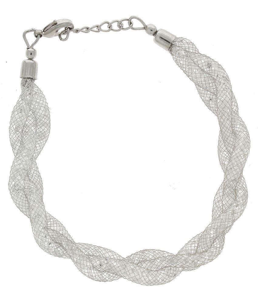 Anuradha Art Alloy Silver Plating Cubiz Zirconia Studded Silver Coloured Bracelet