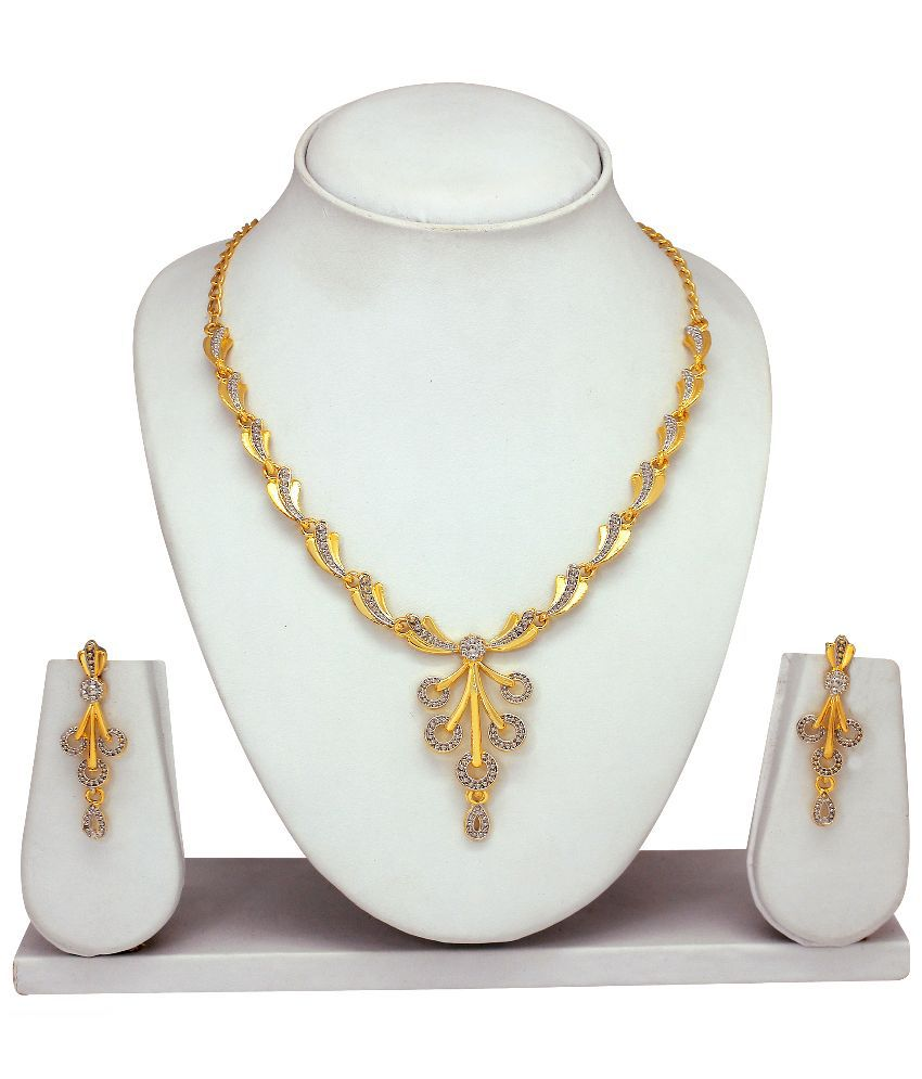 Atasi International Alloy Gold Plating Crystal Studded Gold Coloured Necklaces Set