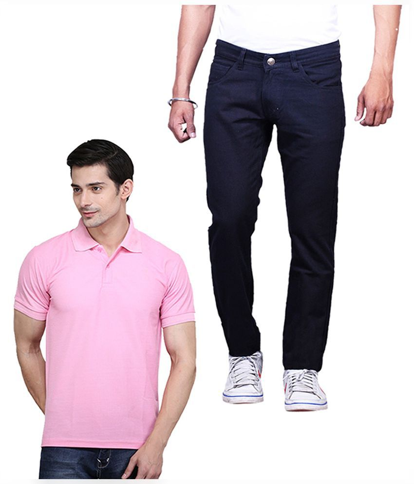 ILBIES Black Slim Fit Solid Jeans with Polo T-Shirt