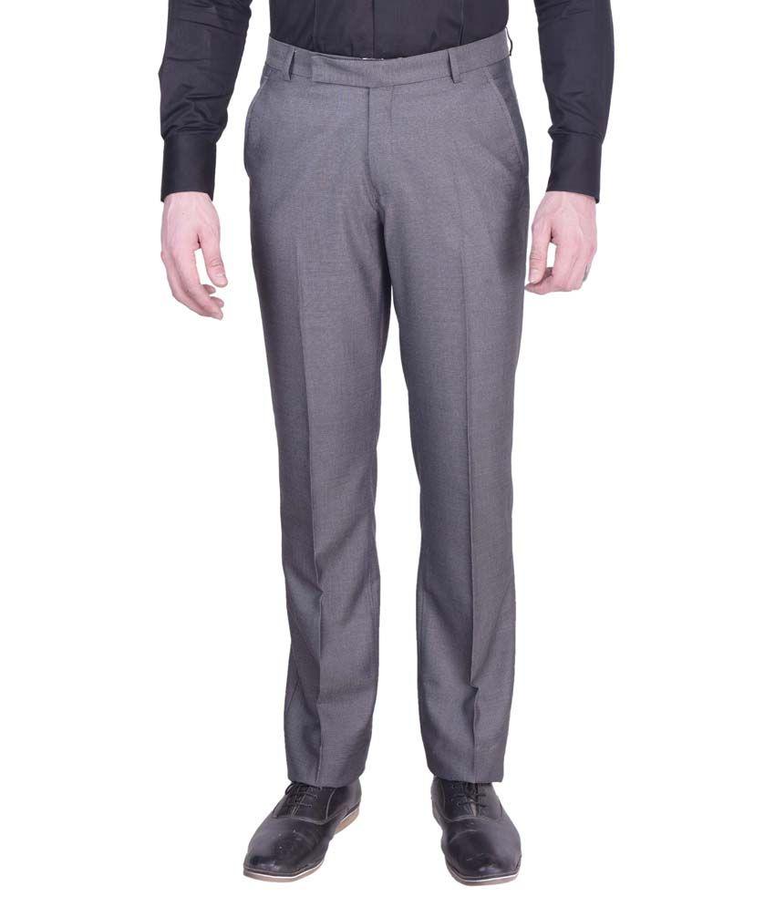 Kingswood Grey Regular Fit Flat Trousers
