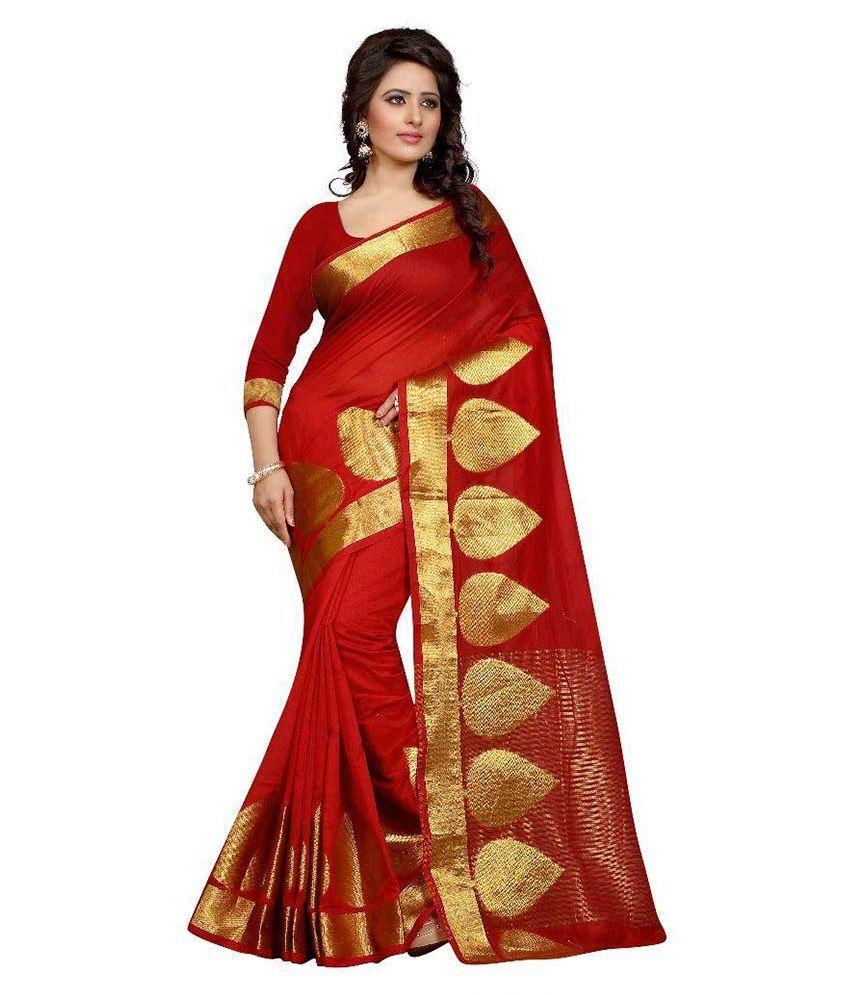 London Beauty Red Cotton Saree