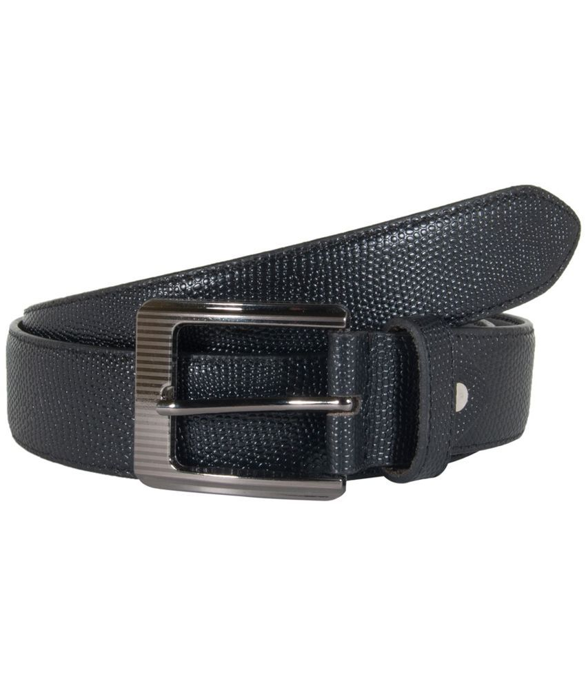 Snoby Black Leather Belt for Men