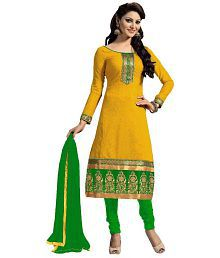 Zombom Yellow Chanderi Straight Unstitched Dress Material