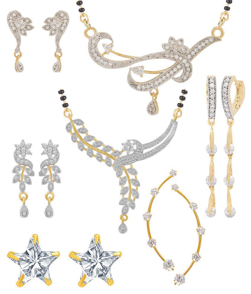 Jewels Galaxy Alloy Gold Plating American diamonds Studded White Coloured Mangalsutra Combo