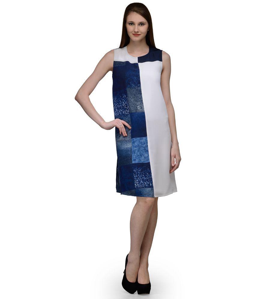 Natty India Blue Georgette Shift Dresses