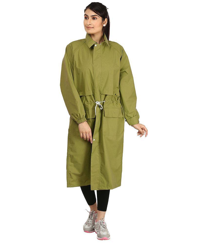 Rainfun Green Nylon Long Raincoat