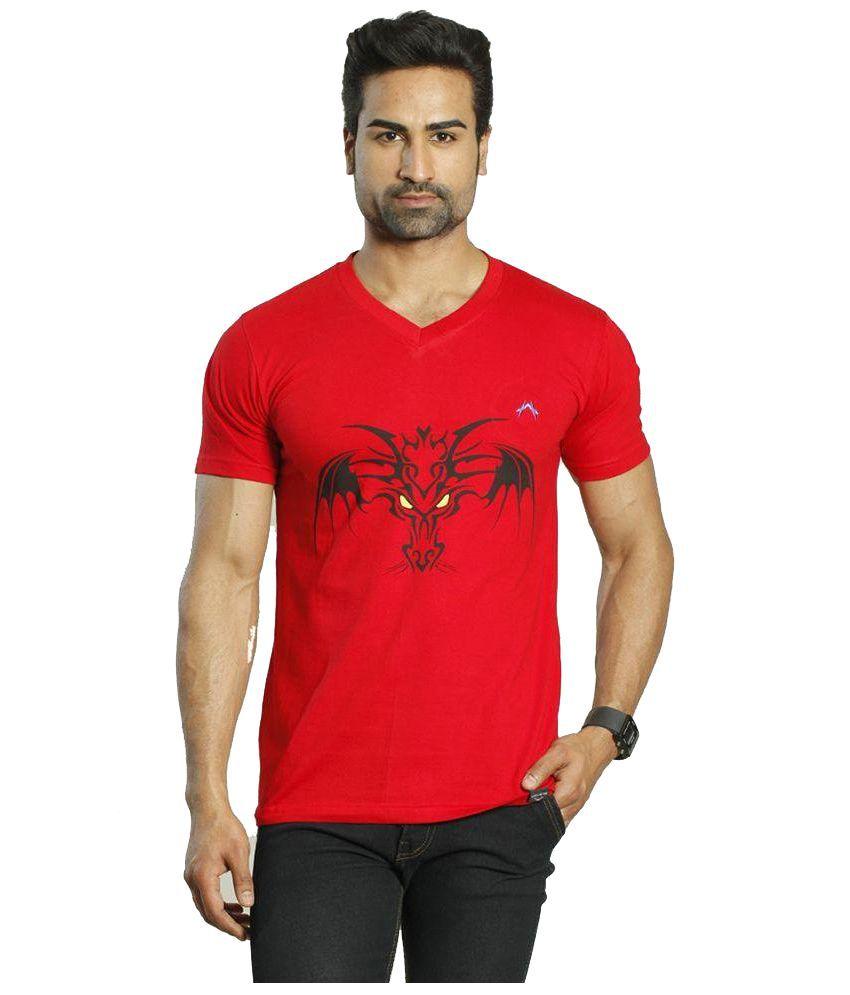 Albiten Red V-Neck T Shirt