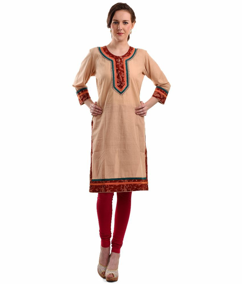 Crafts N Styles Beige Cotton Straight Kurti