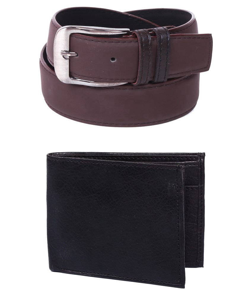 Doller Dx Combo of Brown Pin Buckle Formal Belt for Men with Wallet