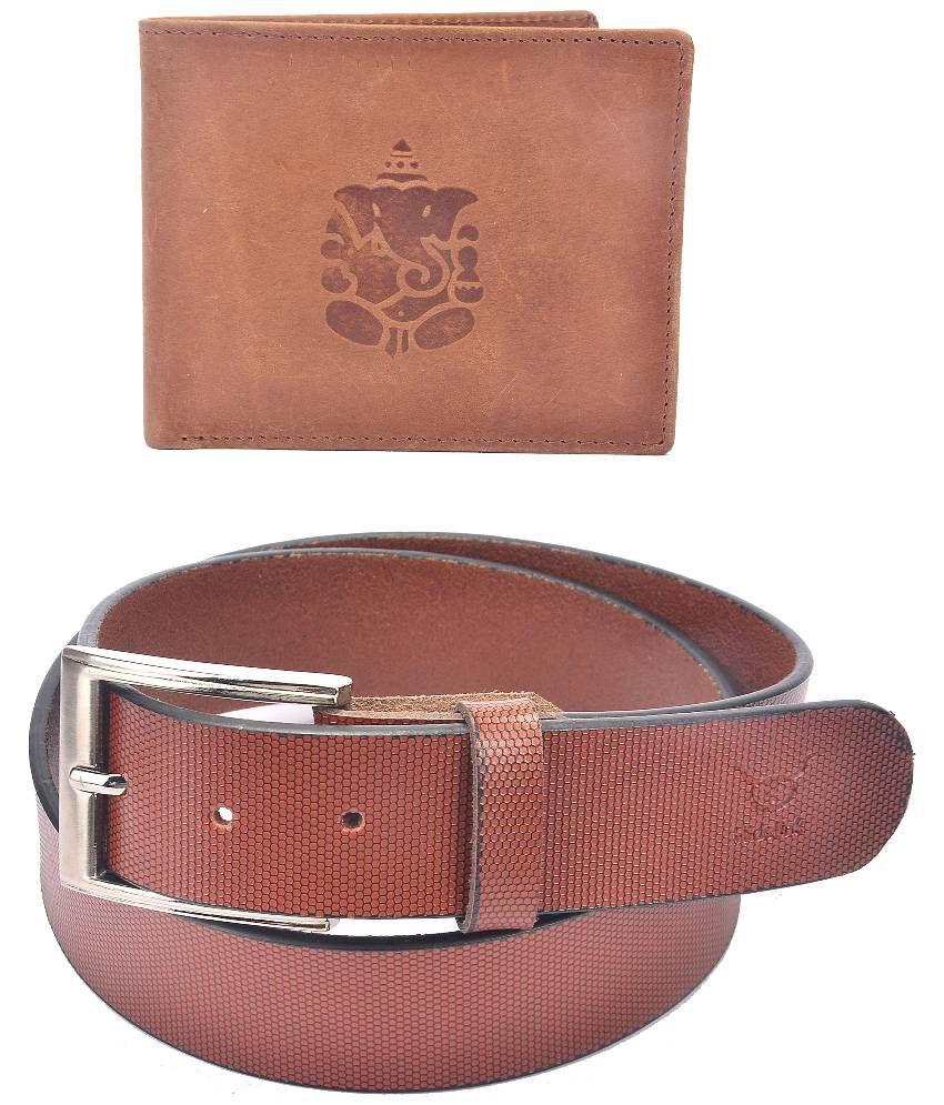 Hidelink Brown Leather Belt with Wallet for Men