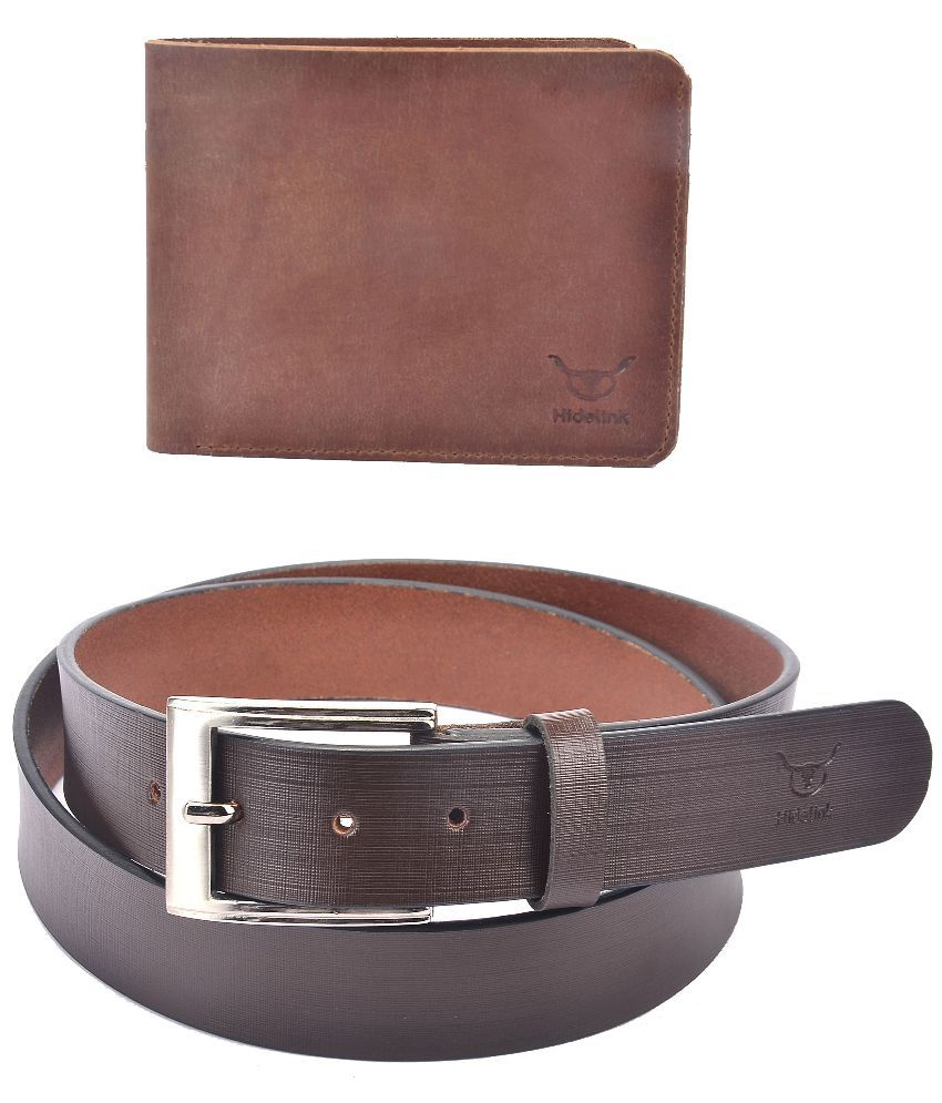 Hidelink Brown Leather Belt with Wallet for Men