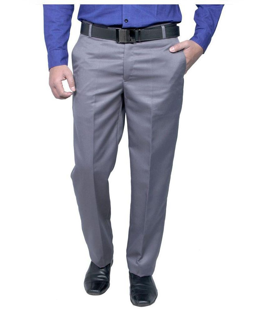 Rich Perk Grey Slim -Fit Flat Trousers
