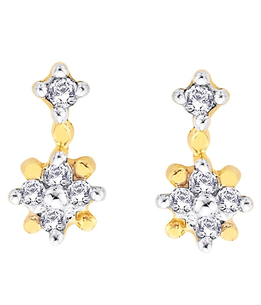 Shuddhi 14kt Gold and Diamond BIS Hallmarked Stud Earrings