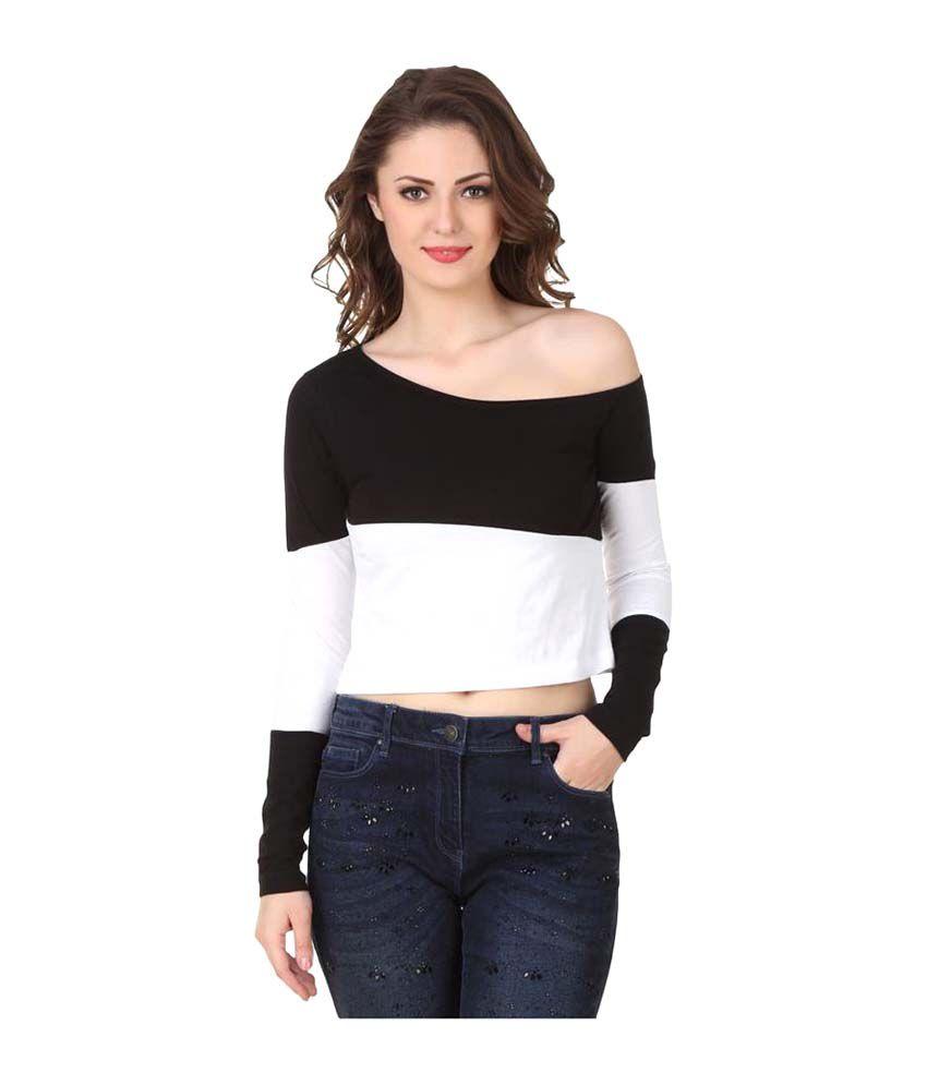 Texco Black Cotton Crop Top
