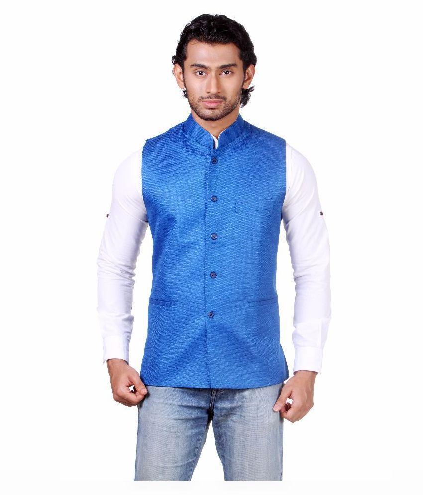 Amora Blue Casual Waistcoats