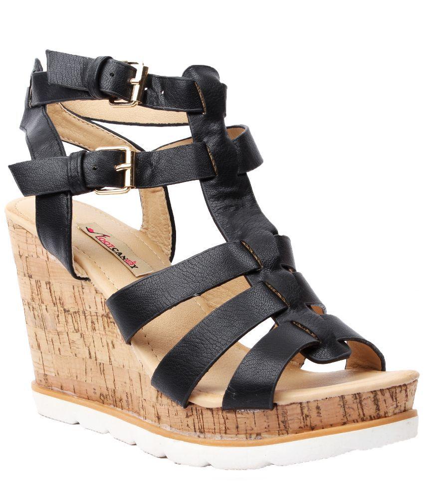 Foot Candy Black Platforms Heels