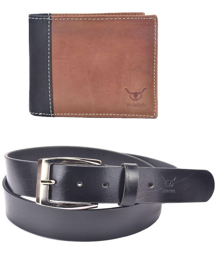 Hidelink Black Leather Belt for Men with Wallet
