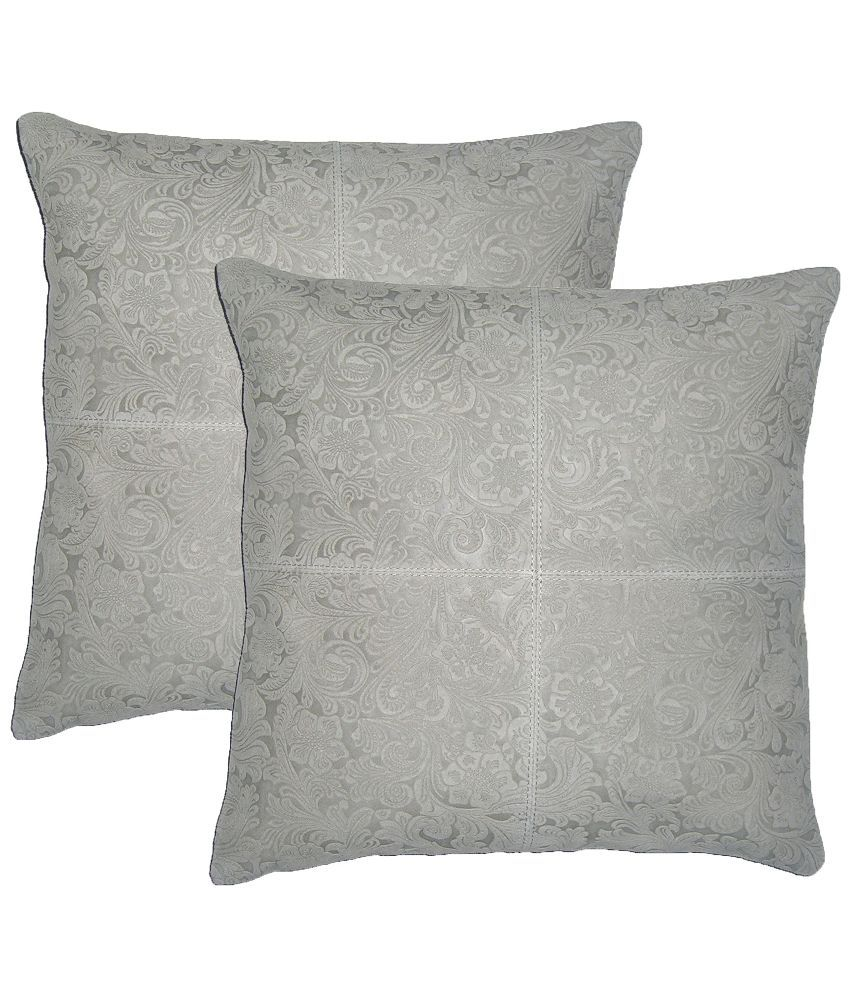Chic Antique Grey Leather Cushion Cover - 40x40 cms