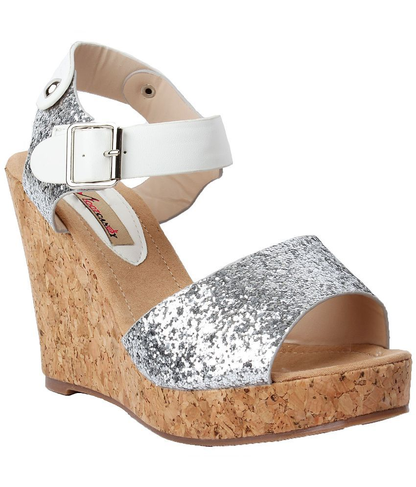 Foot Candy Silver Platforms Heels