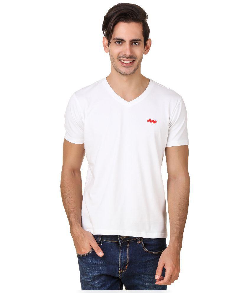 Spunk White V-Neck T Shirt