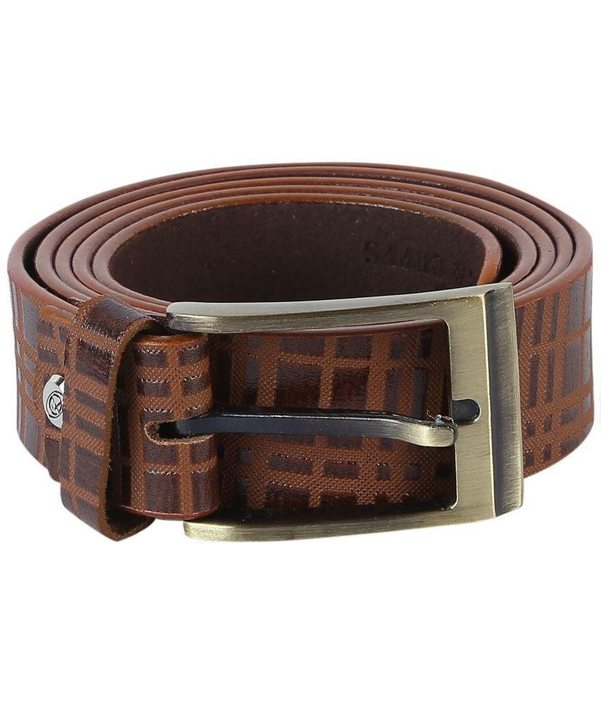 Tie & Cuffs Brown Genuine Leather Belt for Men