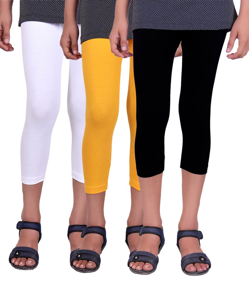 Alisha Cotton Lycra Girls Capri - Pack of 3