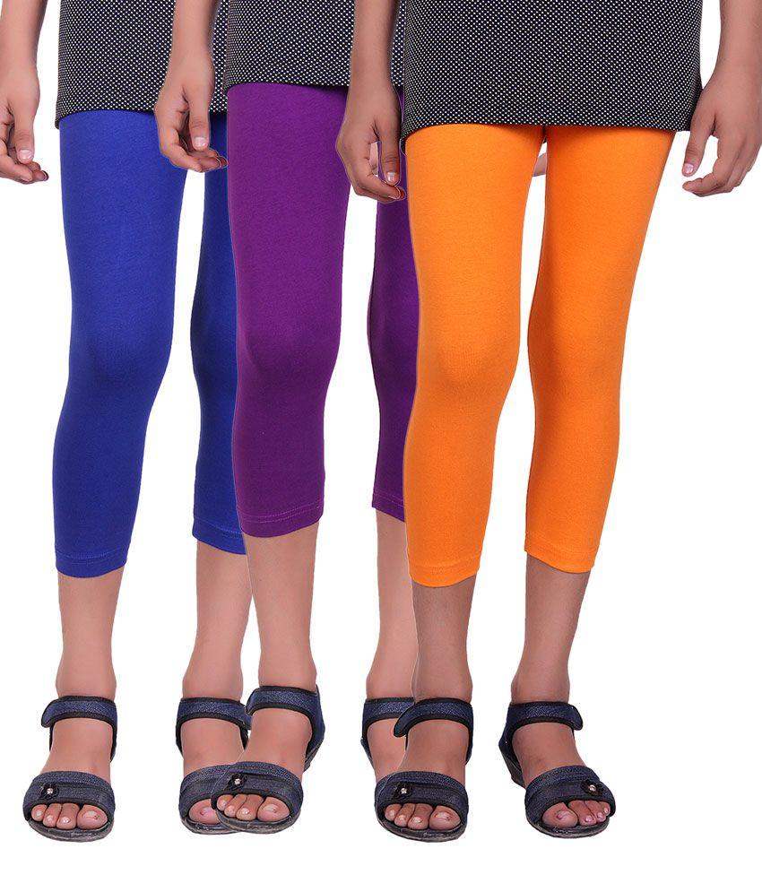 Alisha Multicolor Cotton Lycra Capri - Pack of 3