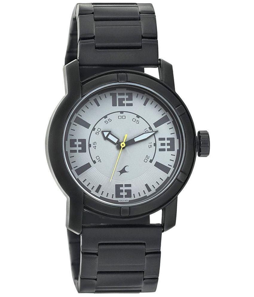 fastrack black metallic analog watch for men buy