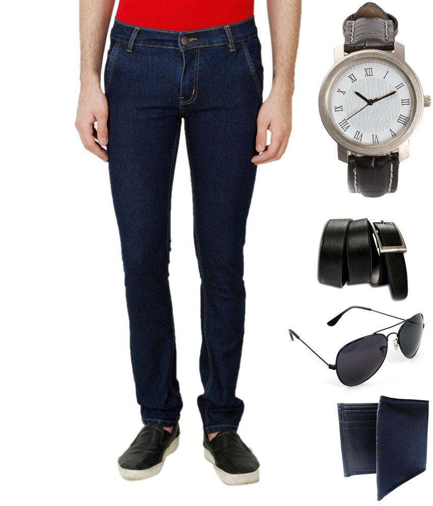 Ansh Fashion Wear Blue Regular Fit Faded Jeans Pack of 5