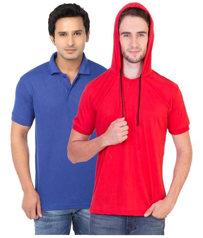 BrandTrendz Multi Hooded T Shirt Pack of 2