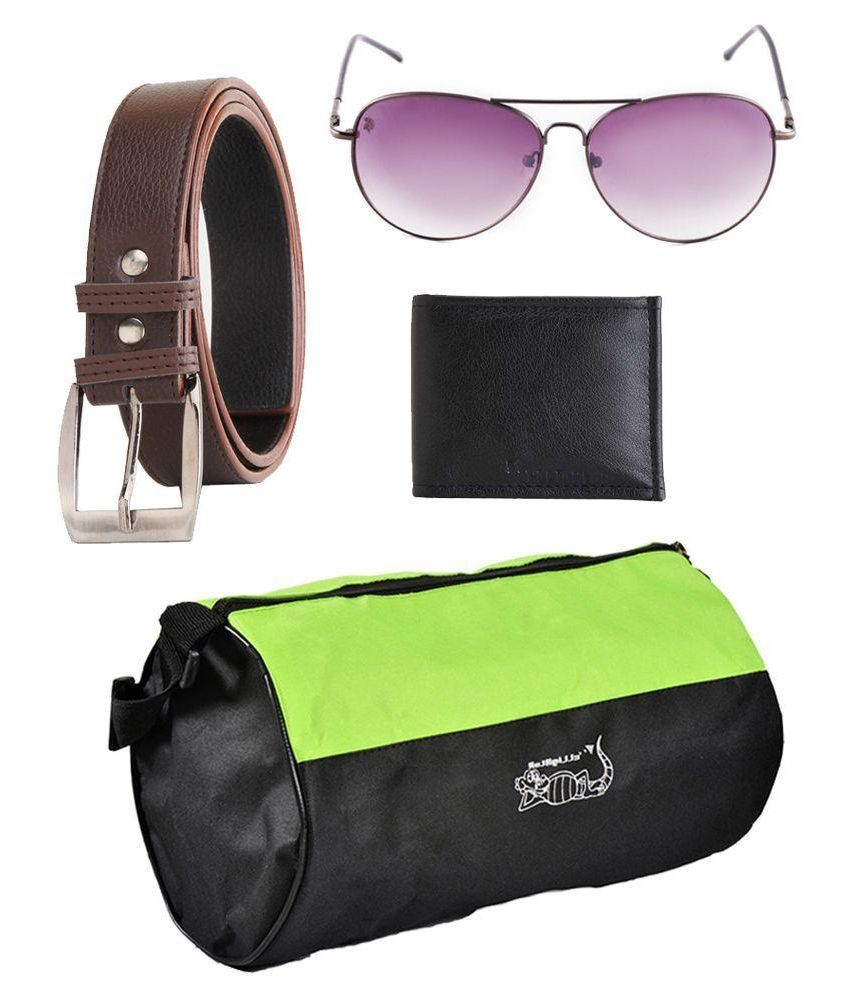 Elligator Combo of Multicolour Polyester Gym Bag with Belt,Wallet and Sunglasses