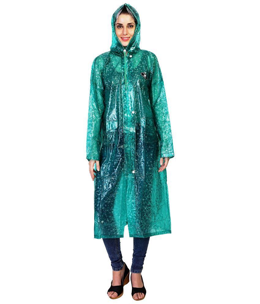 Zeel Green Solid Raincoat  For Women