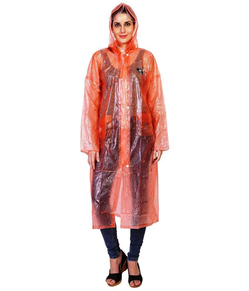 Zeel Orange Waterproof Raincoat