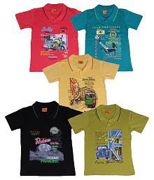 Provalley Multicolor Cotton Polo T-Shirts - Pack of 5