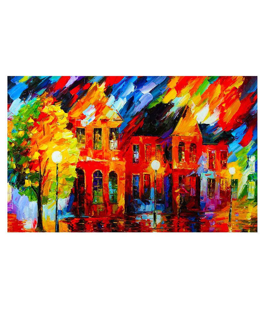 Barisa Epic Multicolor City Painting
