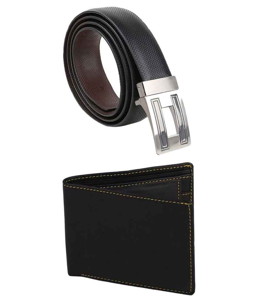 Kailasa Black Belt with Wallet for Men
