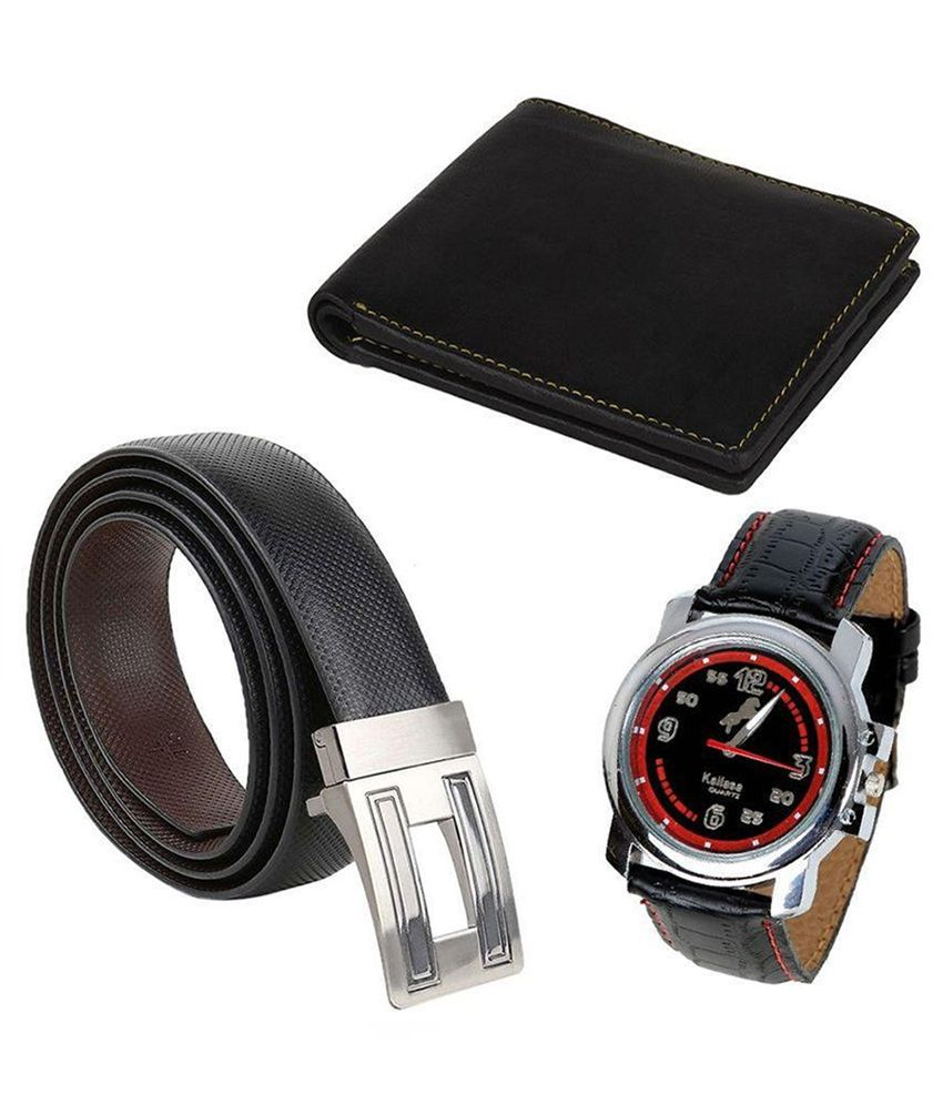 Kailasa Black Reversible Belt with Wallet and Watch