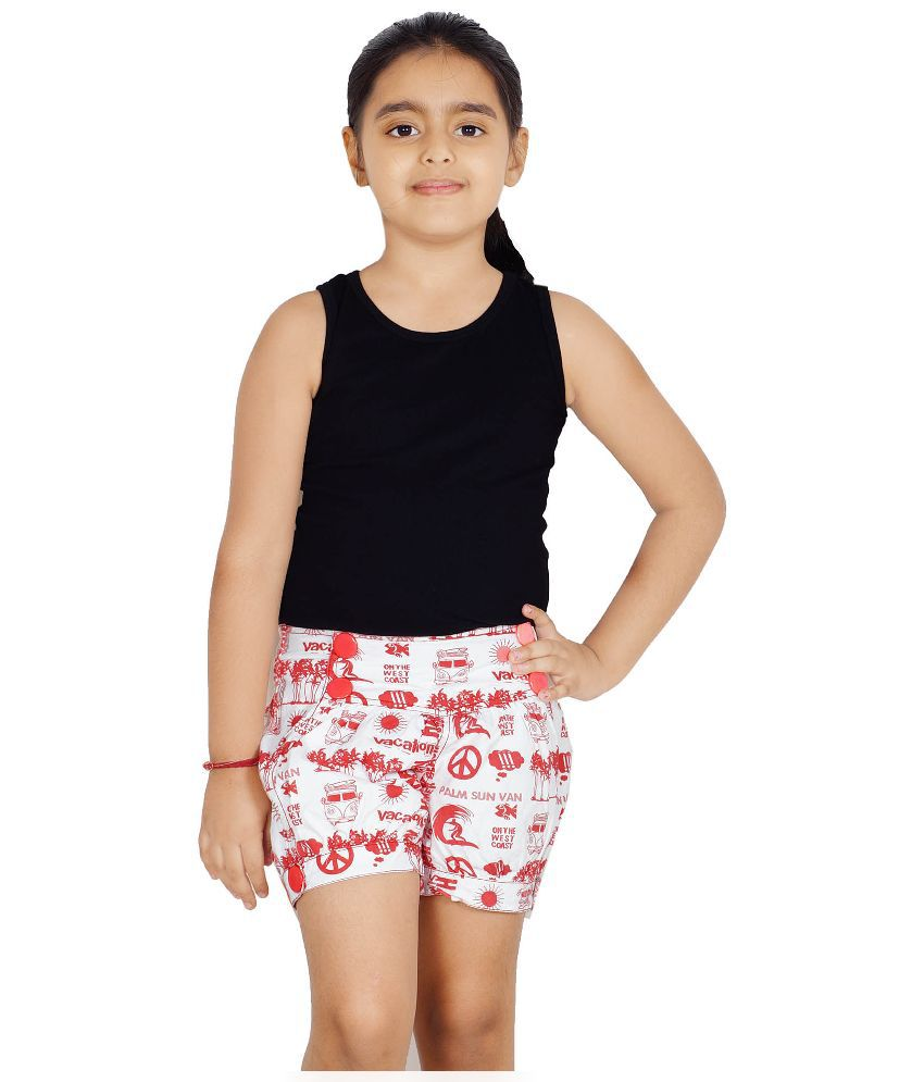 Naughty Ninos White & Red Cotton Shorts for Girls